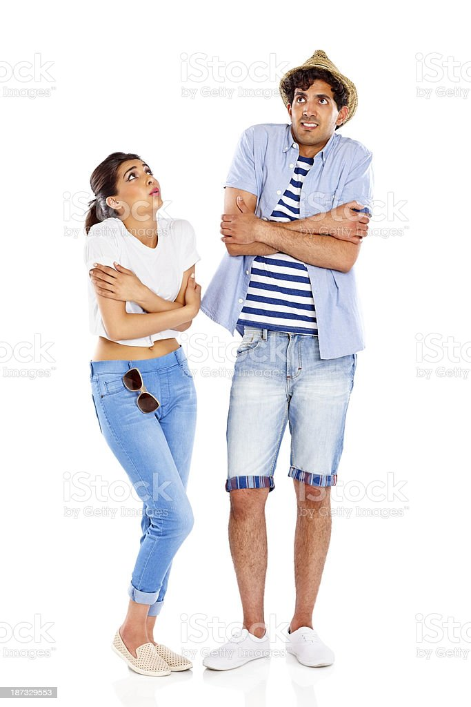 Young attractive couple feeling cold royalty-free stock photo