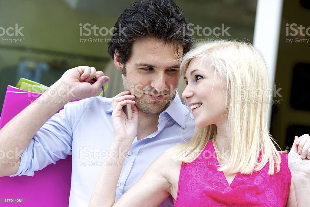 Young attractive couple in shop royalty-free stock photo