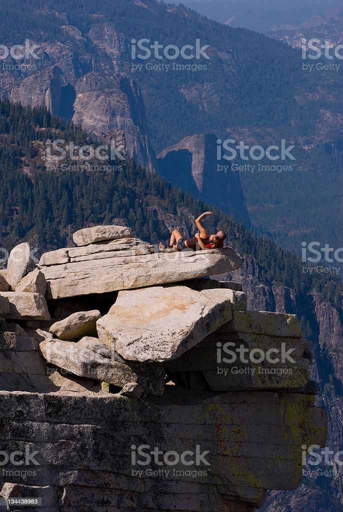 Young Attractive Couple Taking a Sellf Portrait Half Dome royalty-free stock photo