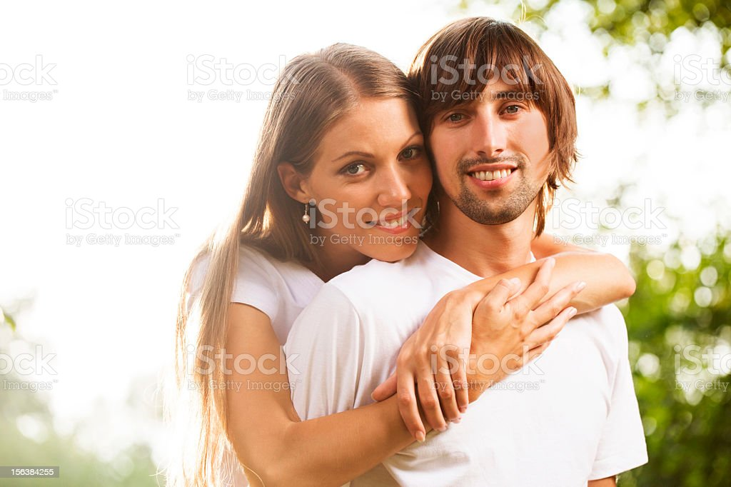 Young attractive couple together outdoors royalty-free stock photo