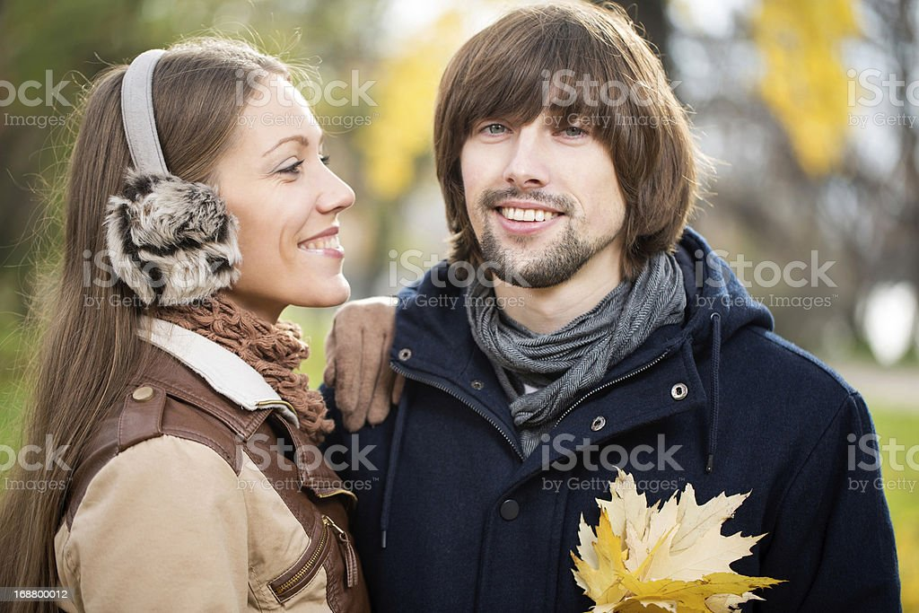 Young attractive couple together outdoors stock photo