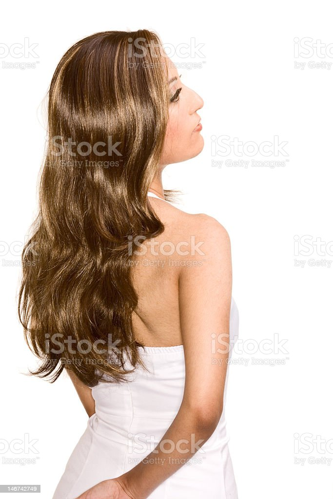 Young attractive Egyptian Arabian woman wearing wig stock photo