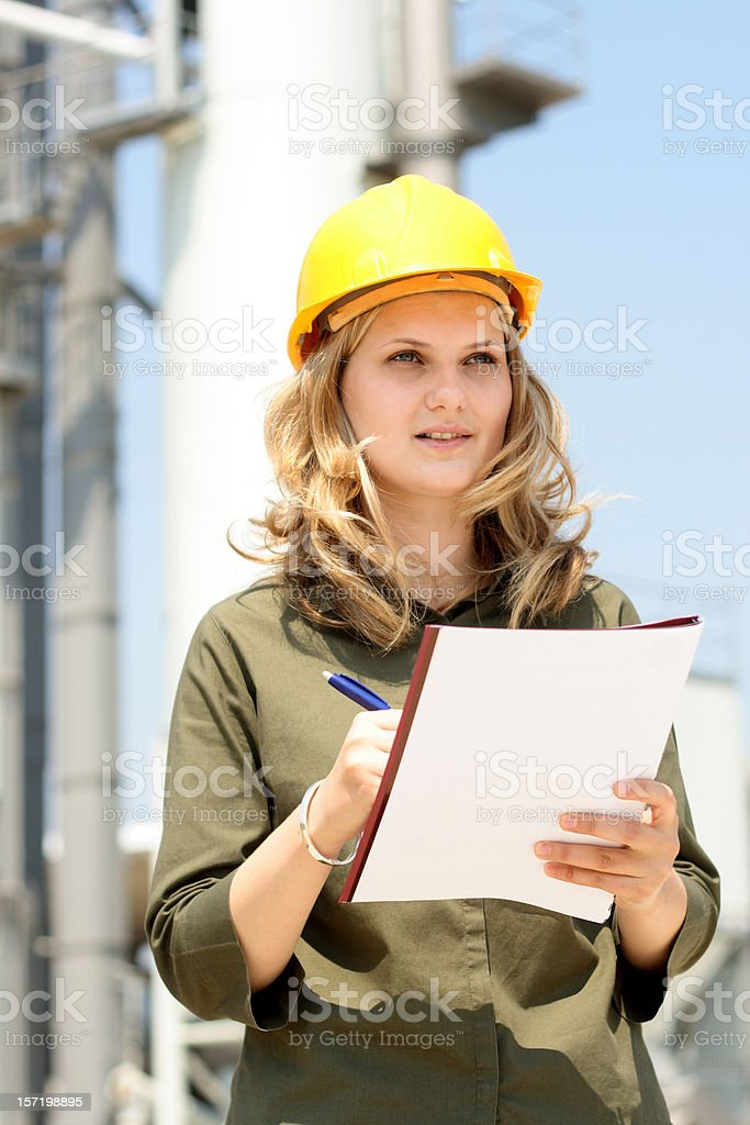 Young attractive female engineer royalty-free stock photo