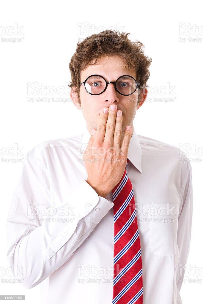 young attractive male cover his mouth, secrecy, isolated on white royalty-free stock photo