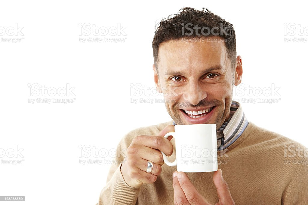 Young attractive male drinking coffee royalty-free stock photo