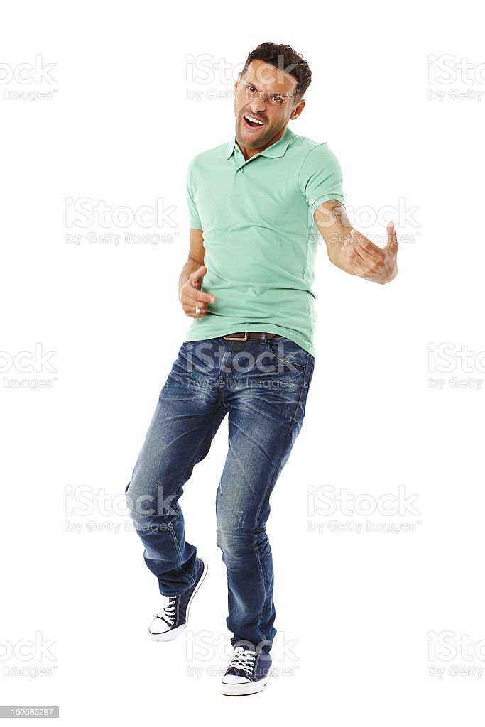 Young attractive male playing air guitar royalty-free stock photo