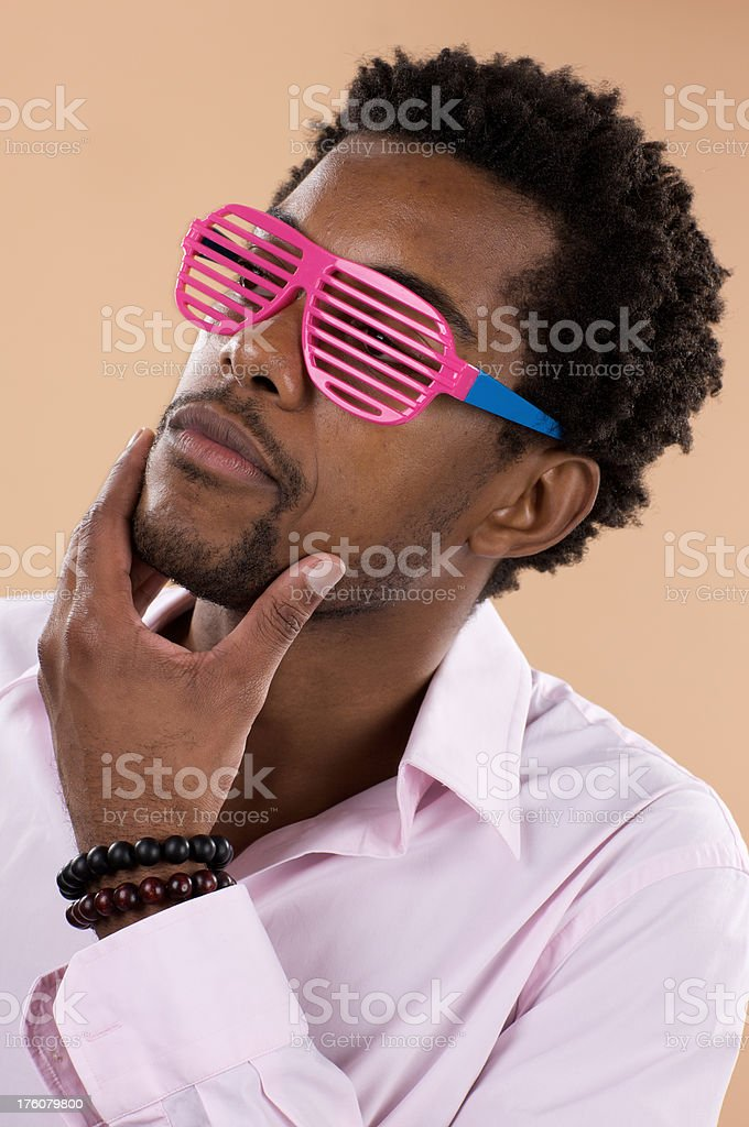 Young attractive male with plastic shutter shades royalty-free stock photo