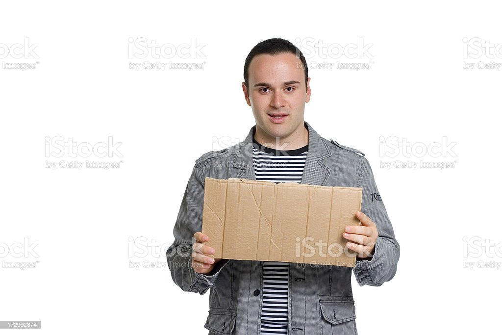 Young attractive man holding blank billboard of carton royalty-free stock photo
