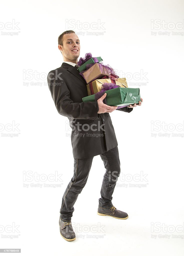 young attractive man with gift pack royalty-free stock photo