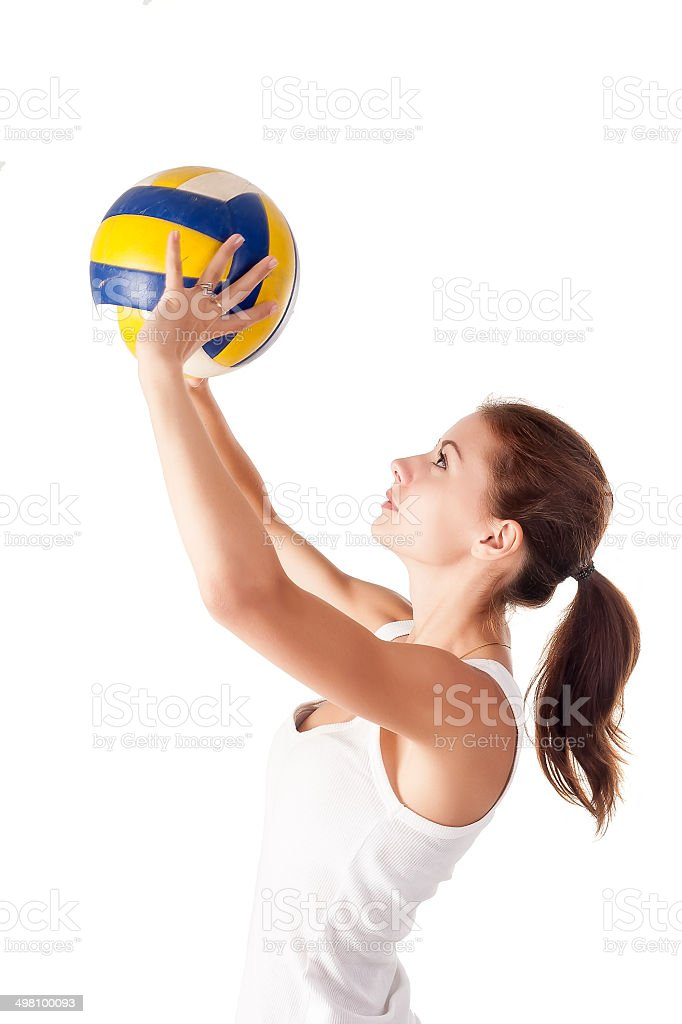 Young attractive volleyball player stock photo