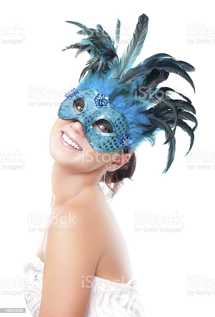 Young attractive woman in mask on white stock photo