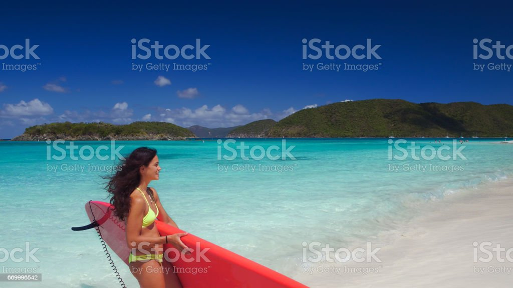 young attractive woman on carrying paddleboard stock photo