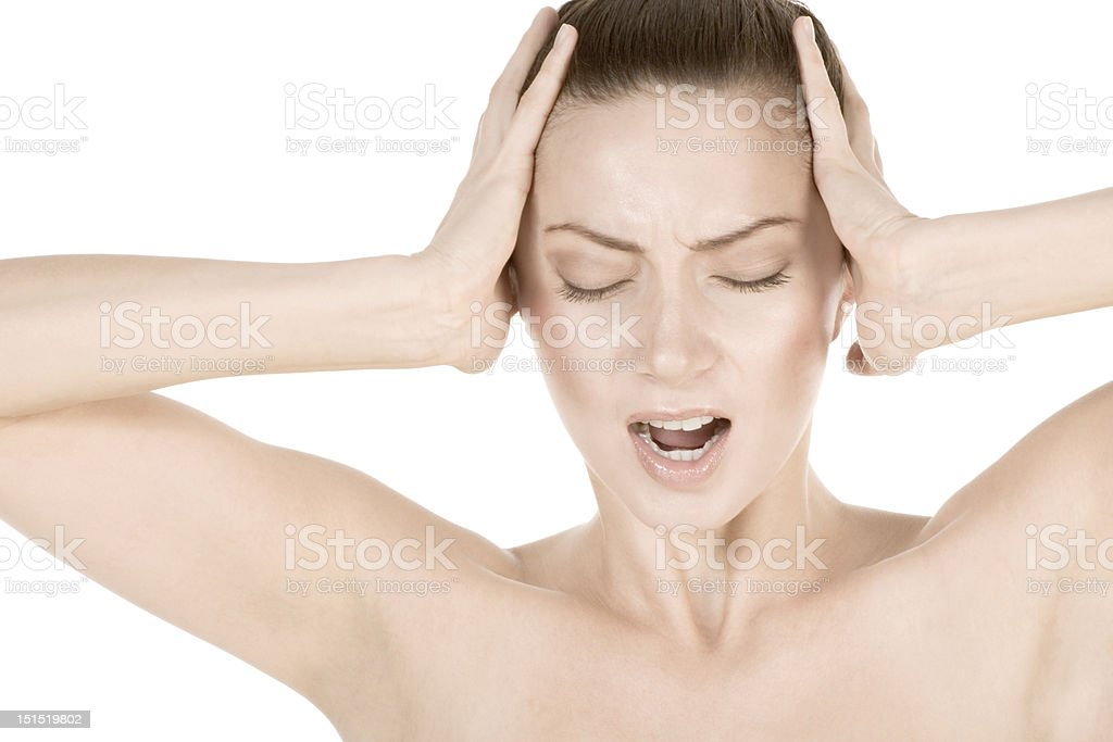 Young attractive woman suffering from headache royalty-free stock photo