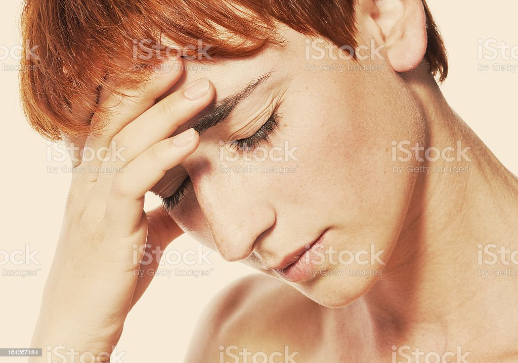young attractive woman with an awful migraine stock photo