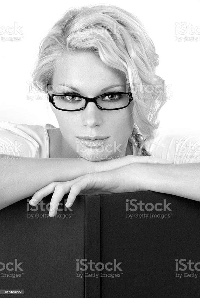 Young, attractive woman with glasses royalty-free stock photo