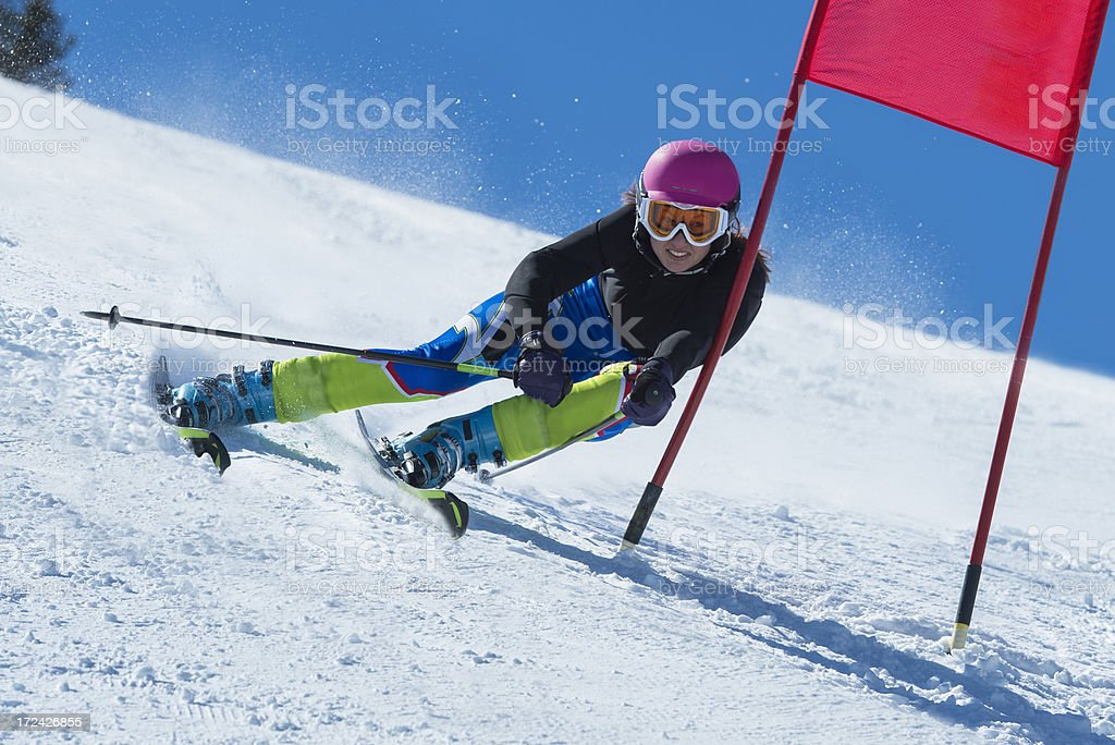 Young Attractive Women Practicing Giant Slalom royalty-free stock photo
