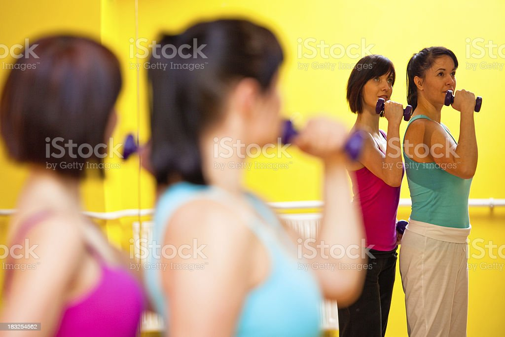 Young attractive women working out in gym royalty-free stock photo