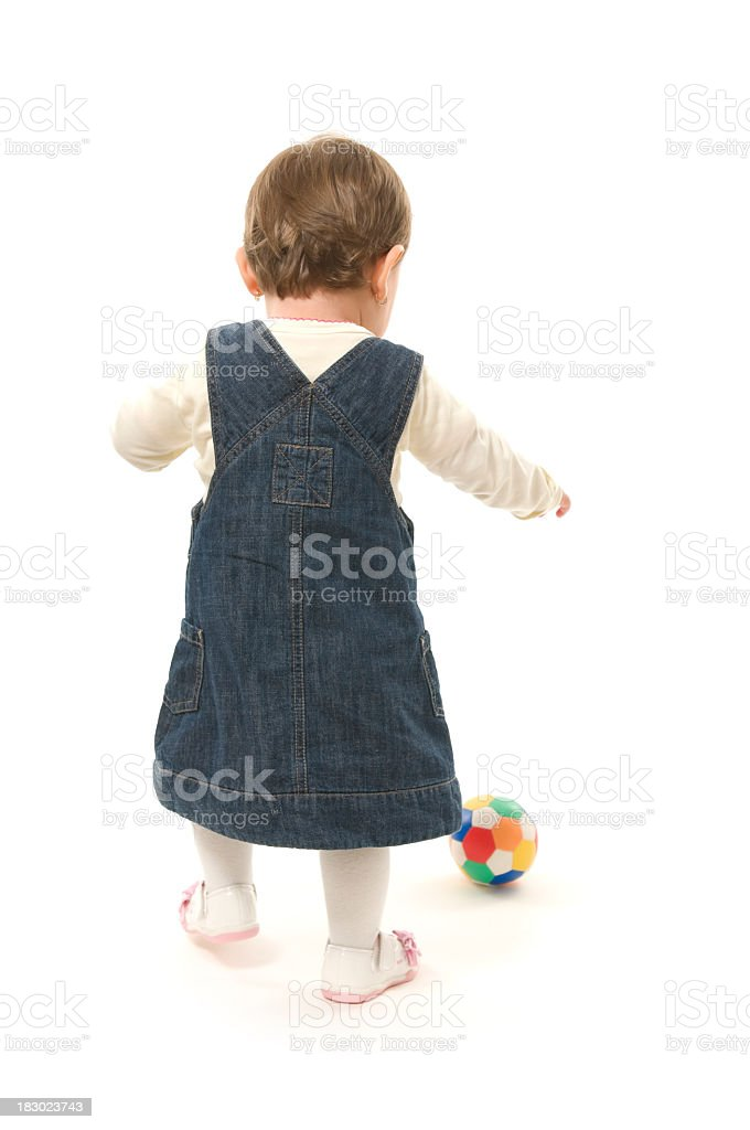 Young baby from the back, isolated on white royalty-free stock photo