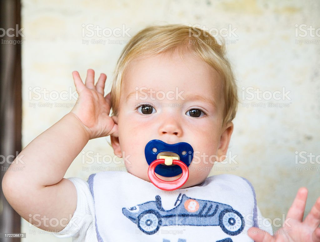 Young baby wearing a car shirt portrait stock photo