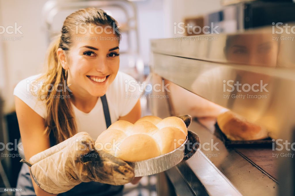 Young baker stock photo