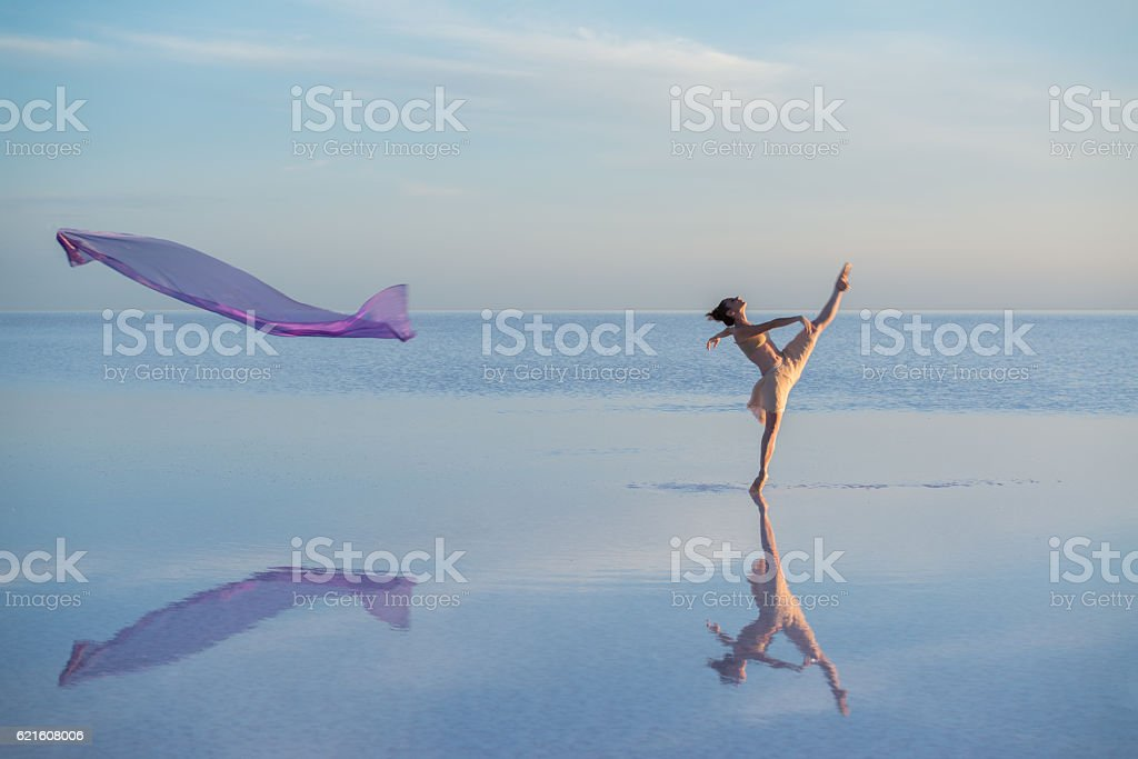 Young ballerina dancing on the salt lake with color tulle stock photo