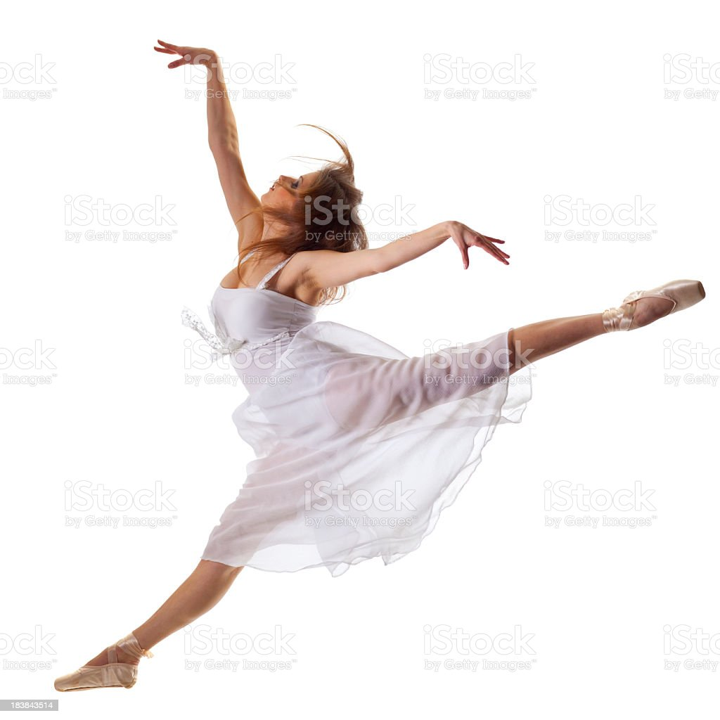 Young ballerina jump in front of white background stock photo
