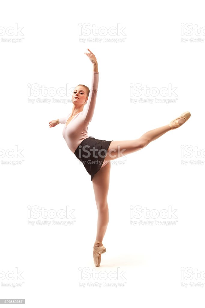 Young Ballet Dancer on White Background stock photo