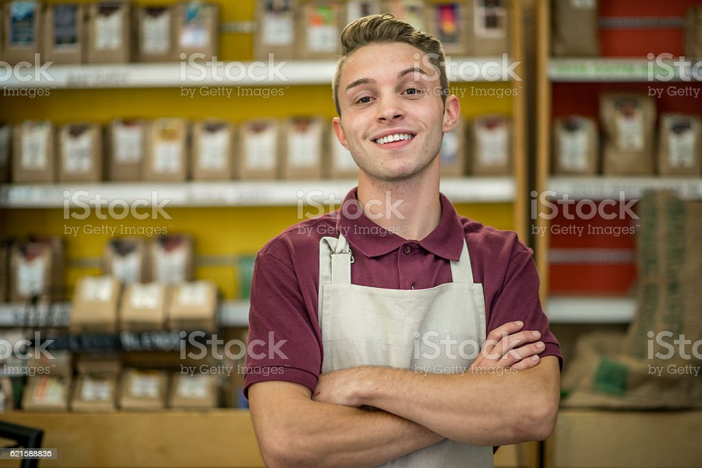 Young Barista Working at a Cafe stock photo
