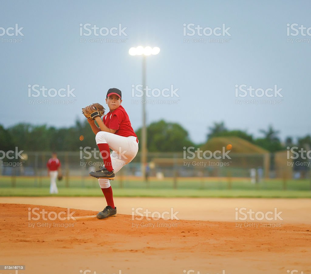 young baseball league pitcher stock photo