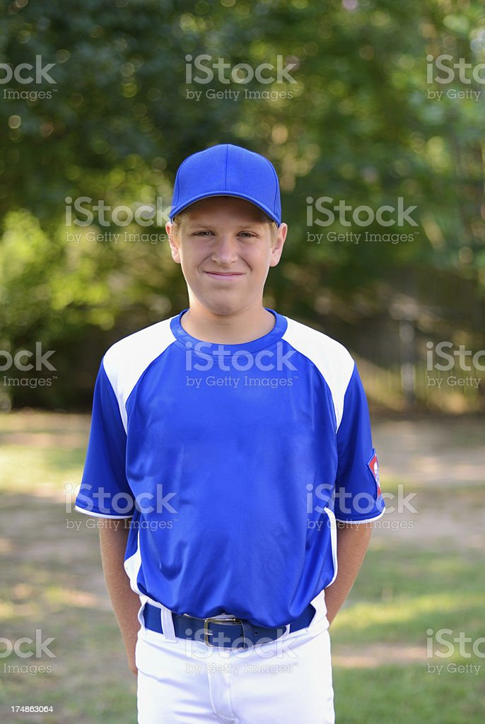 Young baseball player with grinning smile royalty-free stock photo