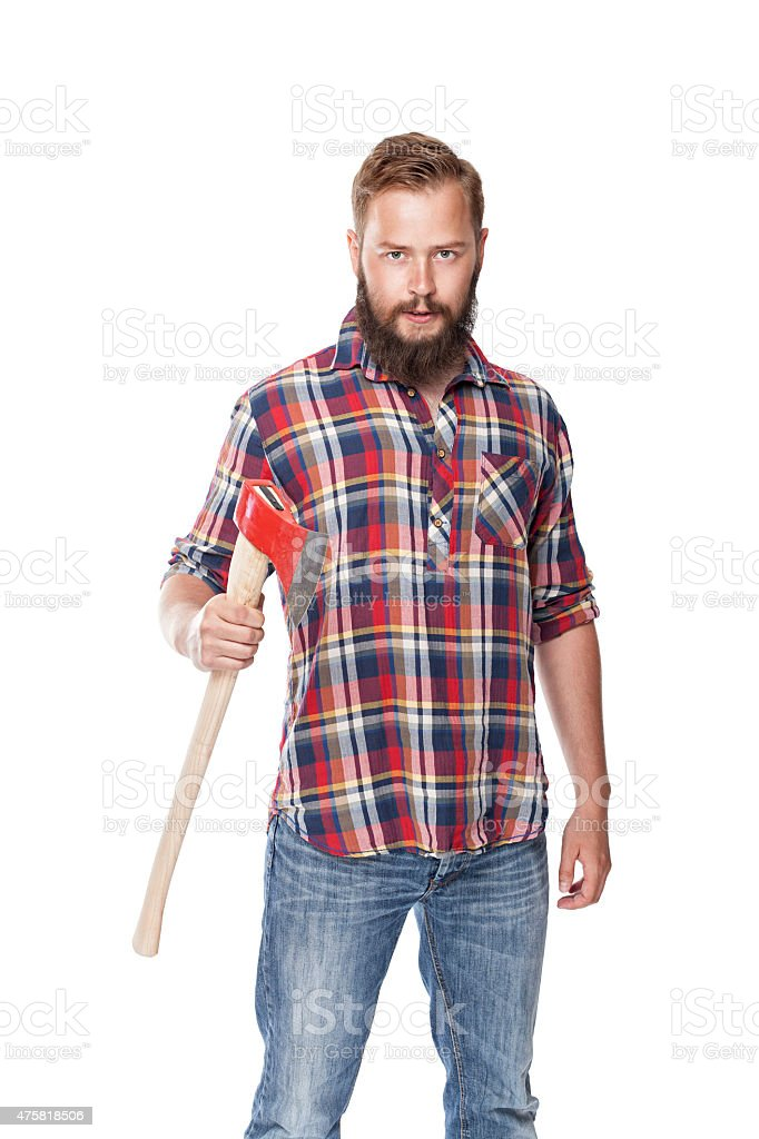 young bearded lumberjack posing with ax stock photo