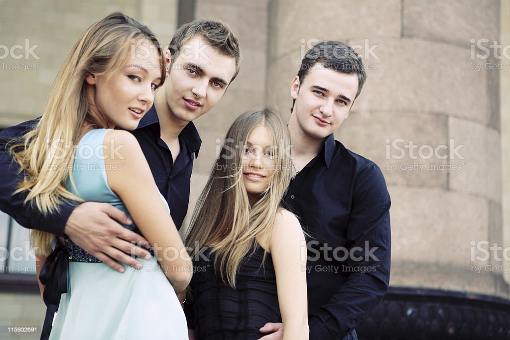 Young beautiful and happy friends royalty-free stock photo