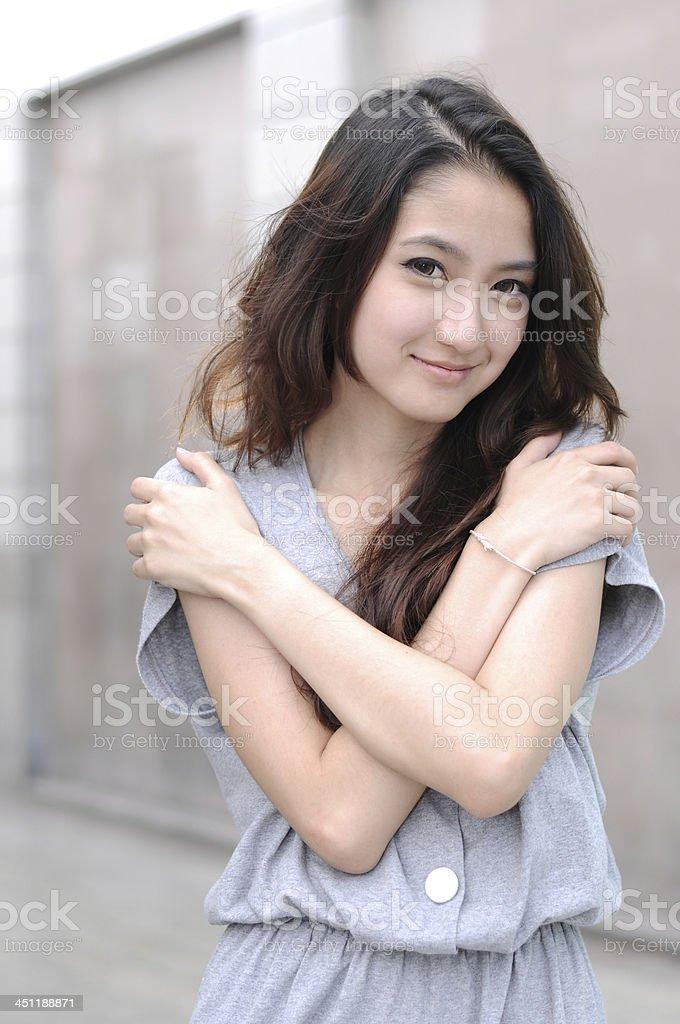 Young Beautiful Asian Woman Outdoors,Portrait. stock photo