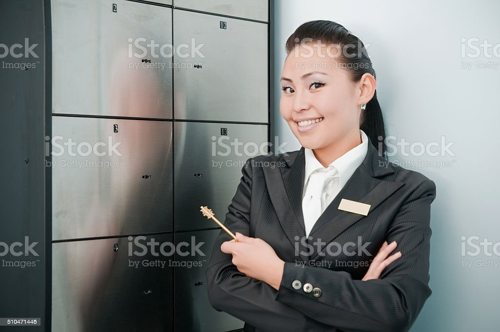 Young beautiful bank worker stock photo