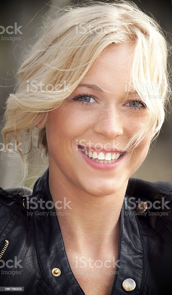 Young beautiful blond female outdoor portrait headshot royalty-free stock photo