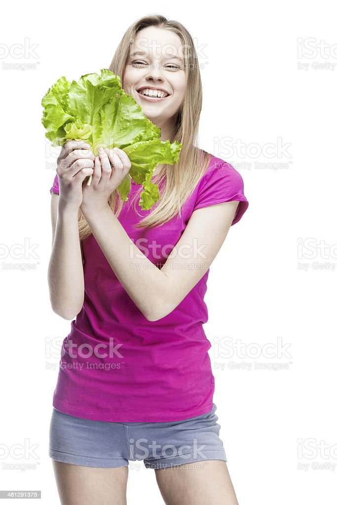young beautiful blond woman holding salad royalty-free stock photo