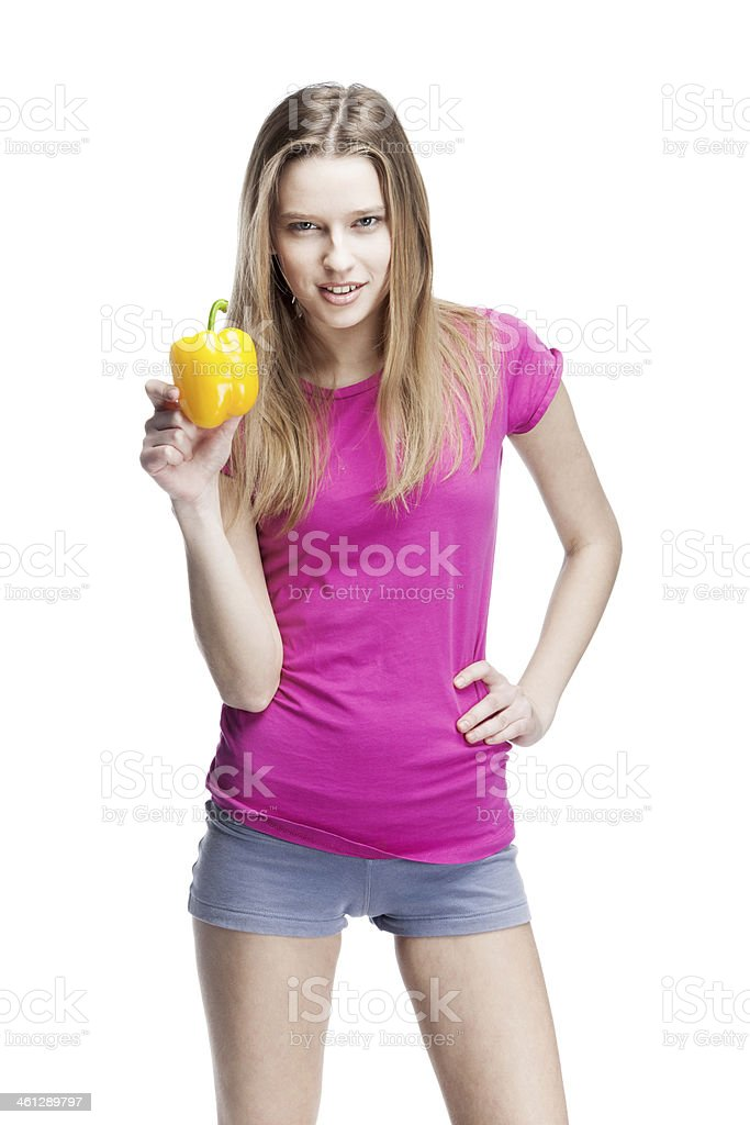 young beautiful blond woman holding yellow papper royalty-free stock photo