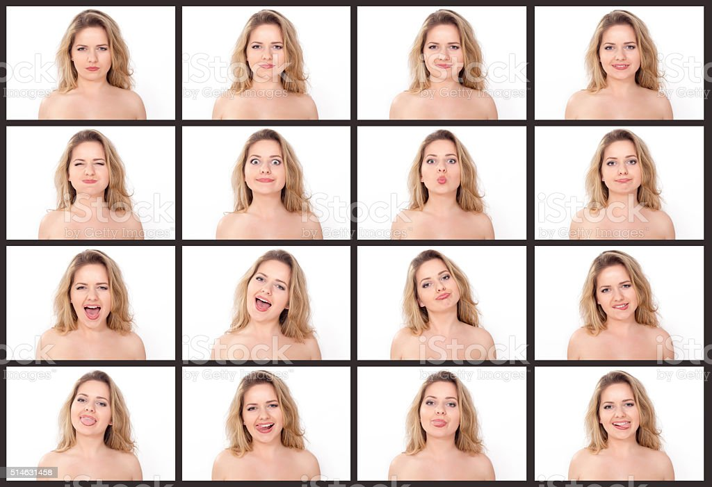 Young beautiful blond woman making facial expressions stock photo