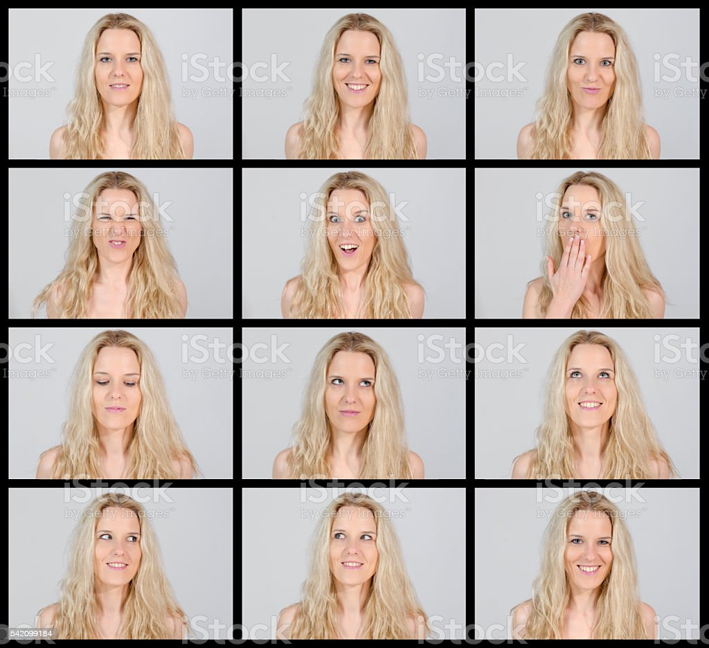 Young beautiful blond woman making12 facial expressions stock photo