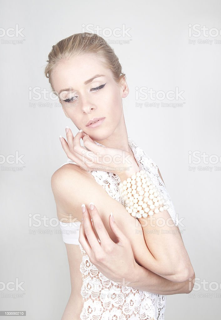 young beautiful blond woman with long acrylic nails royalty-free stock photo