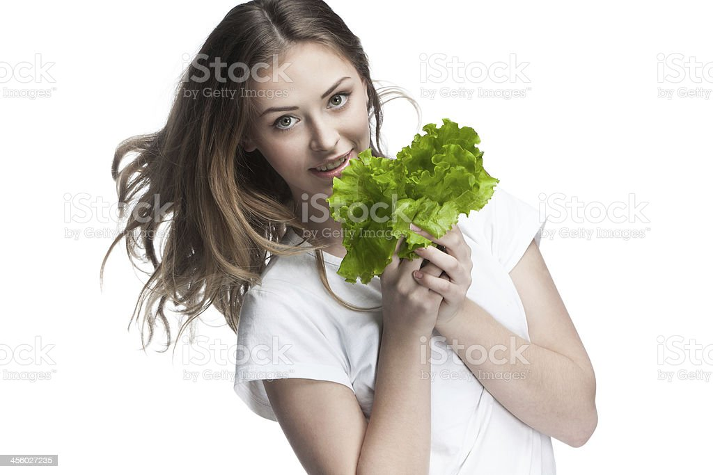 young beautiful brunette woman holding salad royalty-free stock photo