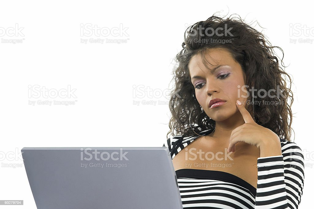 young beautiful businesswoman working on notebook stock photo