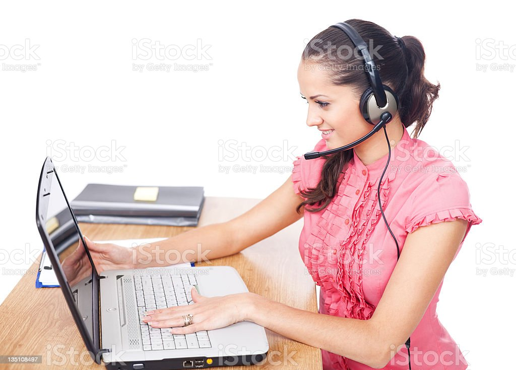 Young beautiful call center female operator royalty-free stock photo