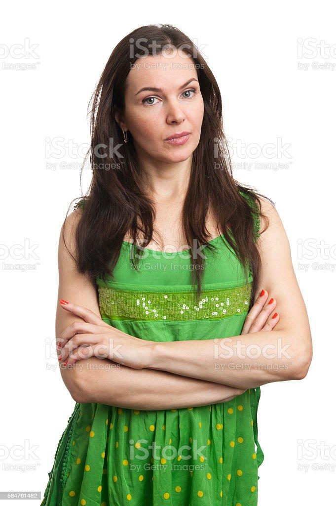 young beautiful caucasian brunette in dress stock photo