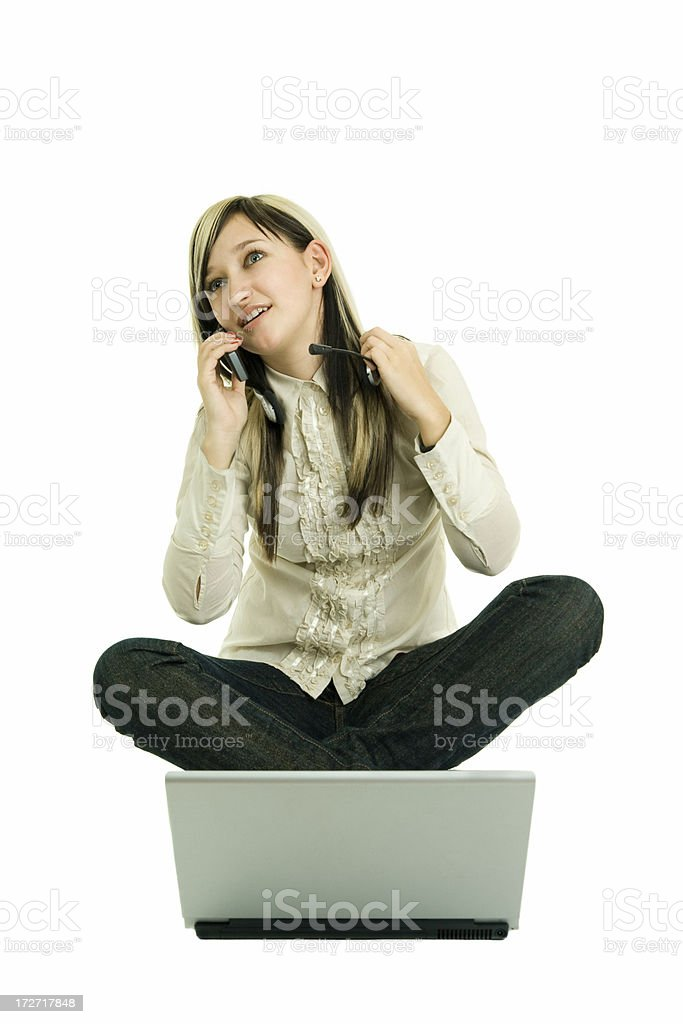 young beautiful caucasian with laptop royalty-free stock photo