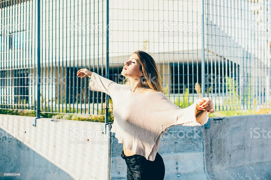 young beautiful caucasian woman feeling free stock photo