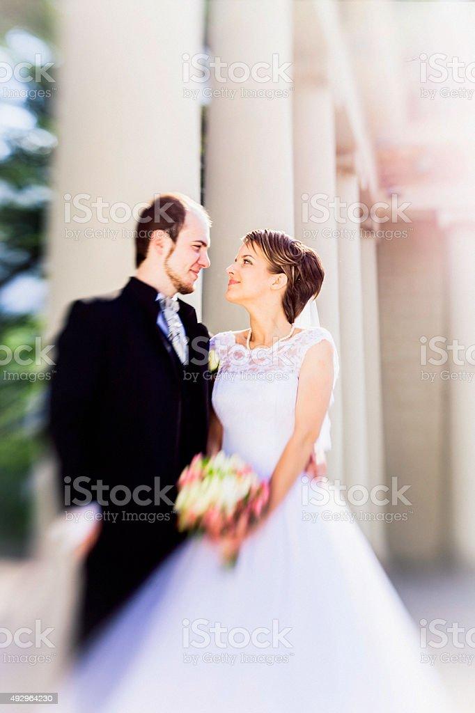 Young beautiful couple: bride in wedding dress and groom. Wedding. stock photo
