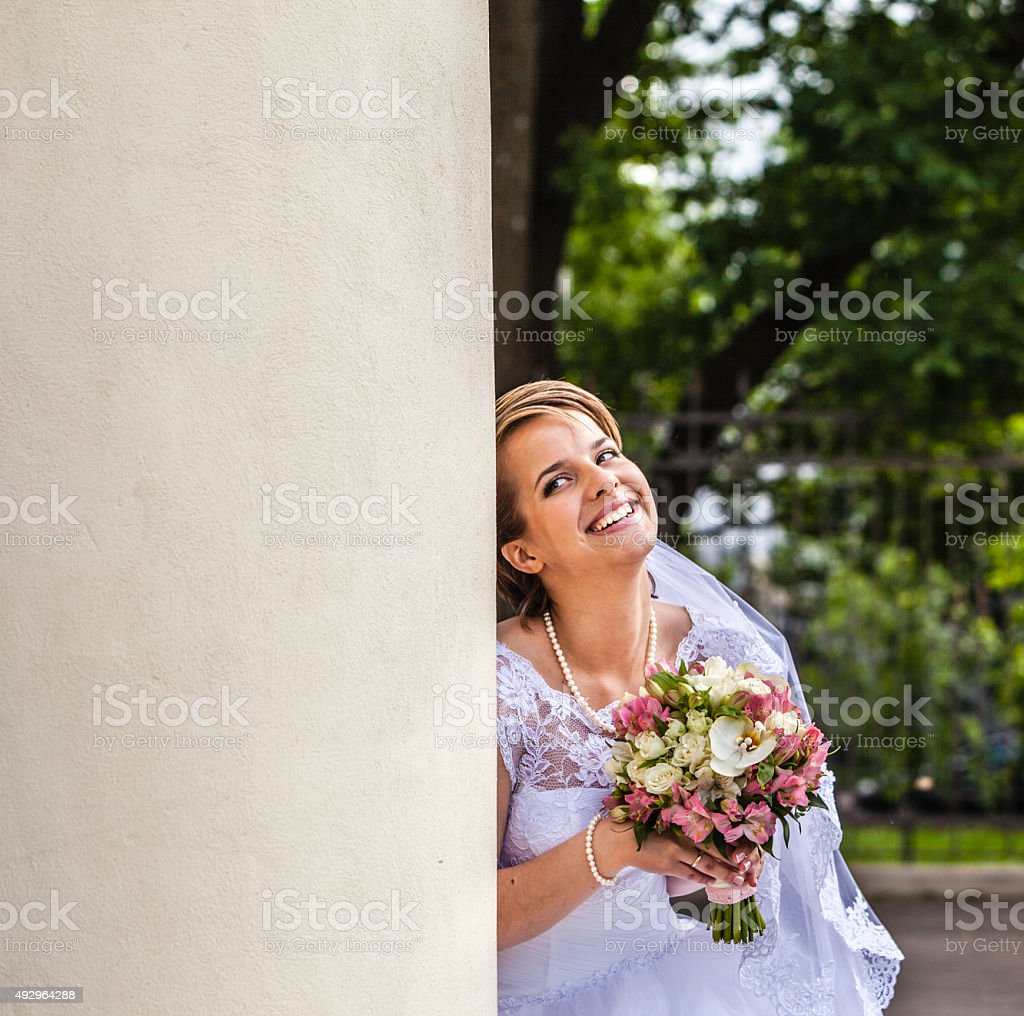 Young beautiful couple: bride in wedding dress and groom. Wedding. stock photo