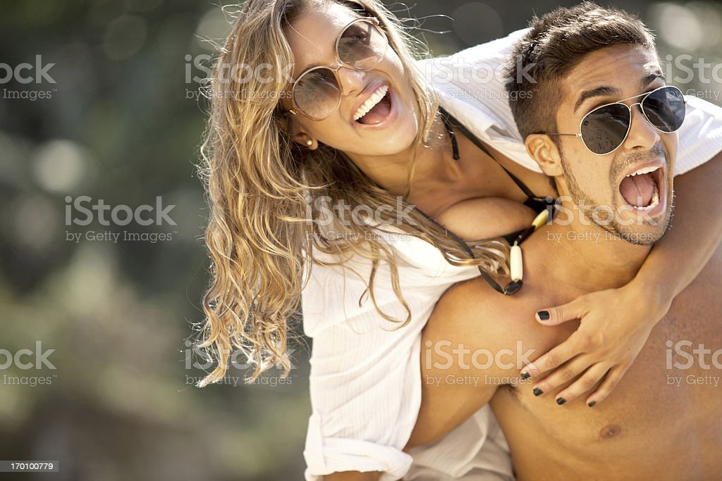 Young beautiful couple have fun together on a sunny day. royalty-free stock photo