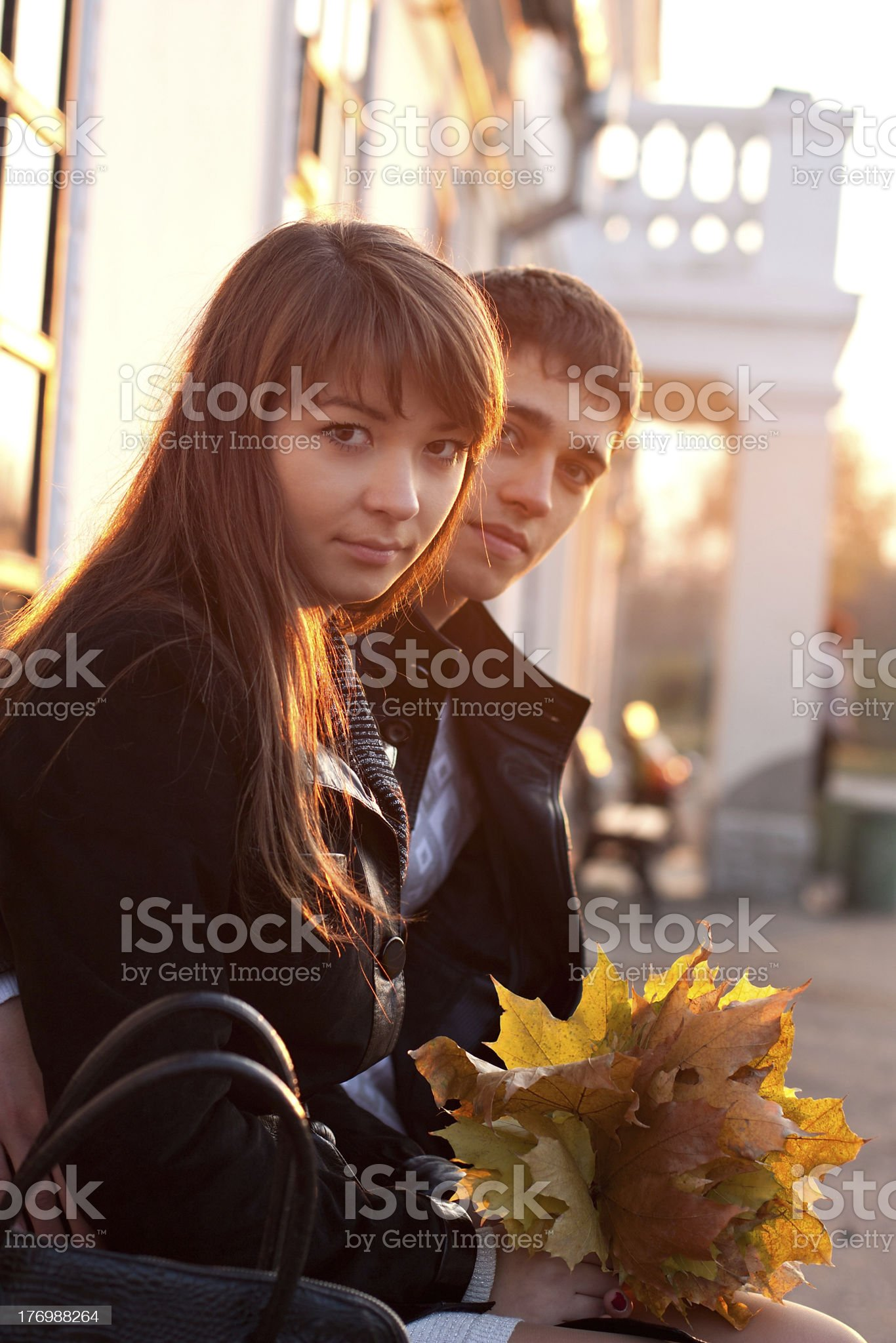 Young Beautiful Couple in Love Outdoor Backlit royalty-free stock photo